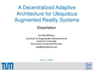 A Decentralized Adaptive Architecture for Ubiquitous Augmented Reality Systems