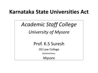 Karnataka State Universities Act