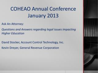 COHEAO Annual Conference January 2013