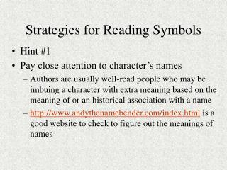 Strategies for Reading Symbols