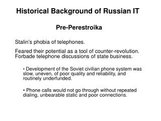 Historical Background of Russian IT