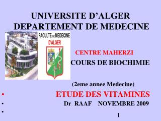 UNIVERSITE D ALGER  DEPARTEMENT DE MEDECINE
