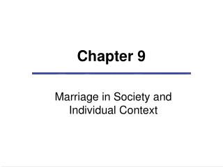 Marriage in Society and Individual Context