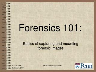 Basics of capturing and mounting forensic images