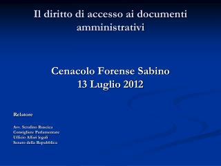 Il diritto di accesso ai documenti amministrativi