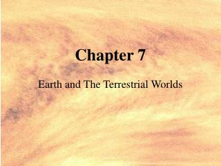 Earth and The Terrestrial Worlds