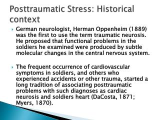 Posttraumatic Stress: Historical context