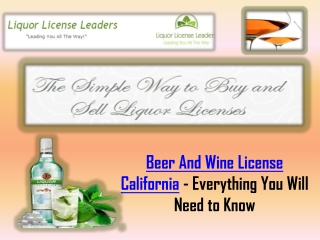 Beer And Wine License California