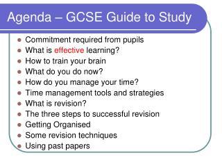 Agenda   GCSE Guide to Study
