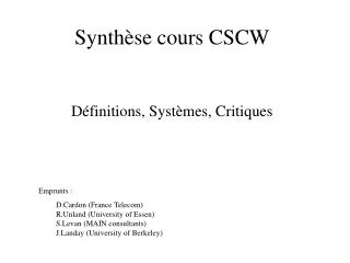 Synth se cours CSCW