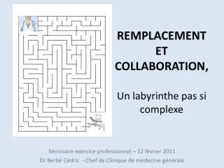 REMPLACEMENT ET COLLABORATION,  Un labyrinthe pas si complexe