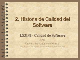 2. Historia de Calidad del Software