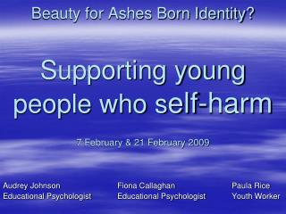 Beauty for Ashes Born Identity  Supporting young people who self-harm    7 February  21 February 2009
