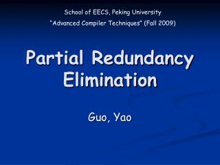 Partial Redundancy Elimination