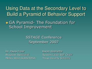 Using Data at the Secondary Level to Build a Pyramid of Behavior Support