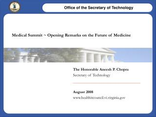 Medical Summit  Opening Remarks on the Future of Medicine