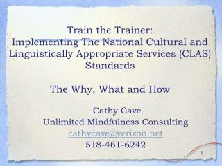 Train the Trainer: Implementing The National Cultural and Linguistically Appropriate Services CLAS Standards   The Why,