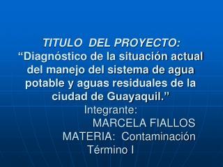 TITULO  DEL PROYECTO:   Diagn stico de la situaci n actual del manejo del sistema de agua potable y aguas residuales de