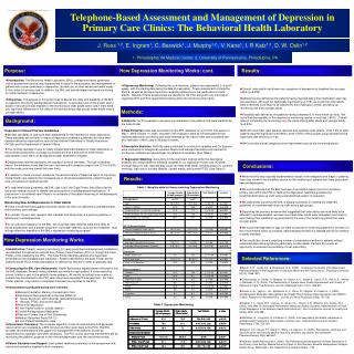 Telephone-Based Assessment and Management of Depression in Primary Care Clinics: The Behavioral Health Laboratory