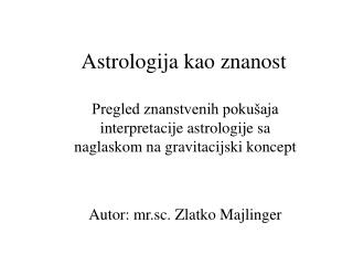 Astrologija kao znanost