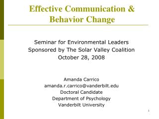 Effective Communication   Behavior Change