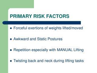 PRIMARY RISK FACTORS