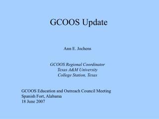 GCOOS Update