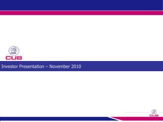 Investor Presentation   November 2010