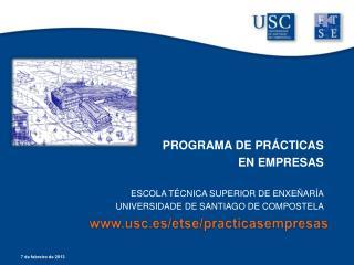 PROGRAMA DE PR CTICAS EN EMPRESAS  ESCOLA T CNICA SUPERIOR DE ENXE AR A UNIVERSIDADE DE SANTIAGO DE COMPOSTELA