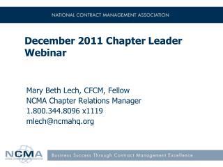 December 2011 Chapter Leader Webinar