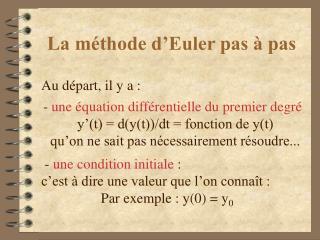 La m thode d Euler pas   pas
