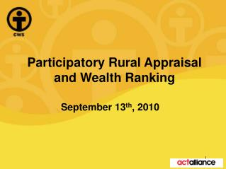 Participatory Rural Appraisal and Wealth Ranking