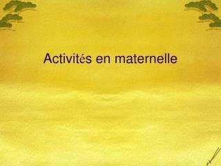 Activit s en maternelle
