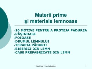 Materii prime  si materiale lemnoase
