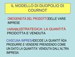 IL MODELLO DI DUOPOLIO DI COURNOT
