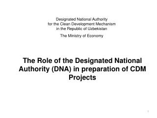 The Role of the Designated National Authority DNA in preparation of CDM Projects