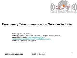Emergency Telecommunication Services in India