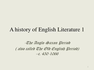 A history of English Literature 1