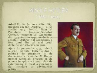 ADOLF HITLER   1889   1945