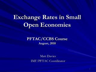 Exchange Rates in Small Open Economies   PFTAC
