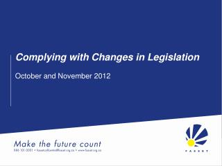 Complying with Changes in Legislation