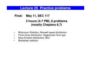Lecture 25  Practice problems