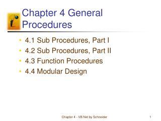 Chapter 4 General Procedures
