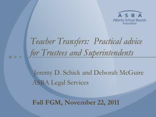 Teacher Transfers:  Practical advice for Trustees and Superintendents