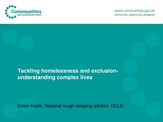 Tackling homelessness and exclusion-understanding complex lives