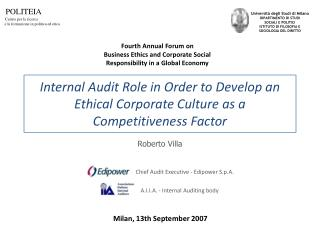 Internal Audit Role in Order to Develop an Ethical Corporate Culture as a Competitiveness Factor