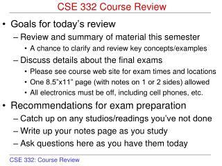 CSE 332 Course Review