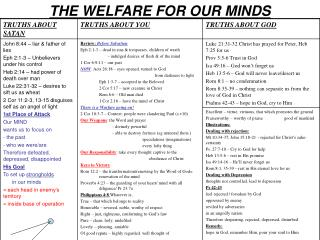 THE WELFARE FOR OUR MINDS