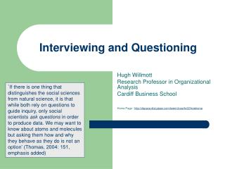 Interviewing and Questioning