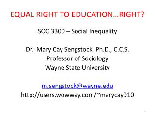 EQUAL RIGHT TO EDUCATION RIGHT